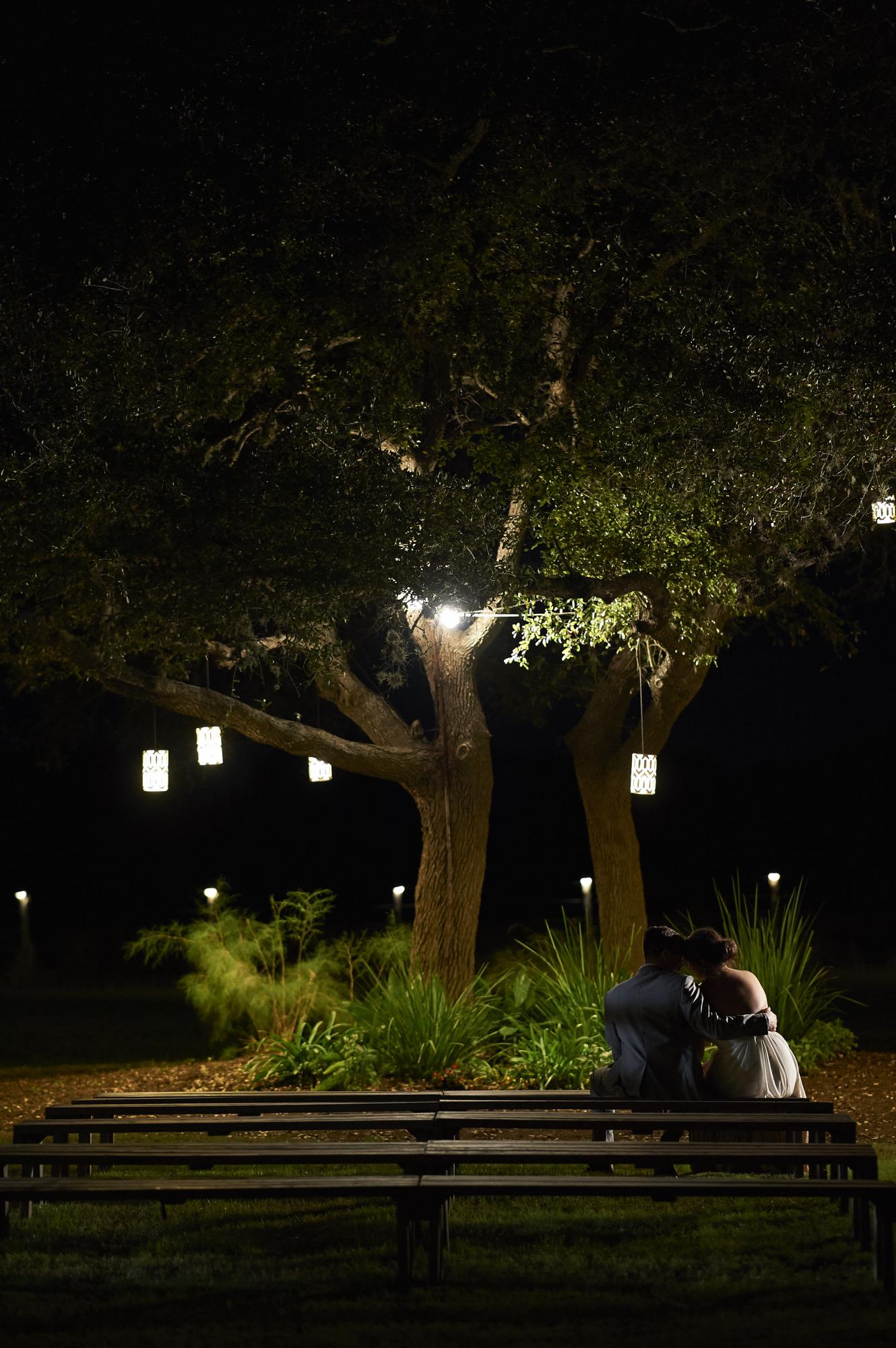 Bride and Groom Cuddling under a Tree, Wedding, Stonehouse Villas, Dripping Springs
