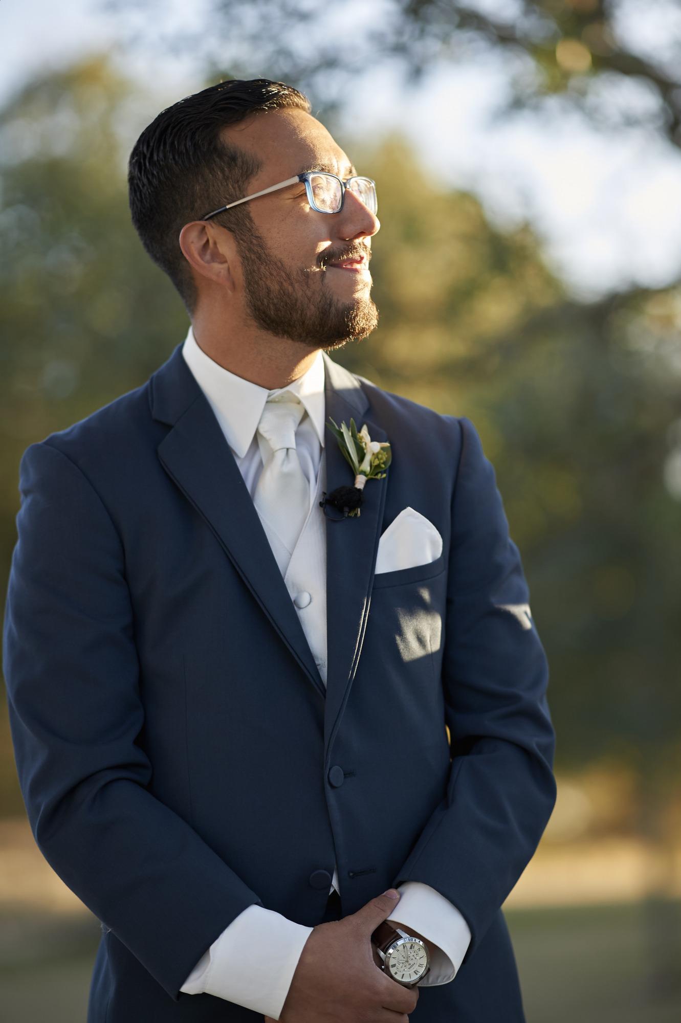 Groom Waits for Bride, Wedding, Memory Lane, Dripping Springs